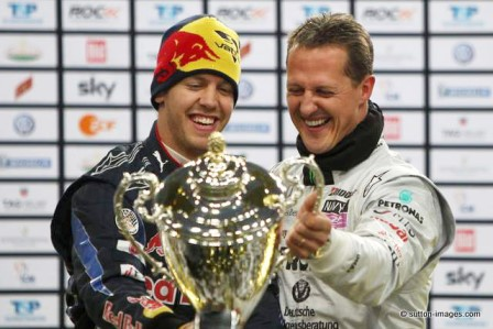 Sebastian Vettel and Michael Schumacher (Courtesy: Race of Champions)