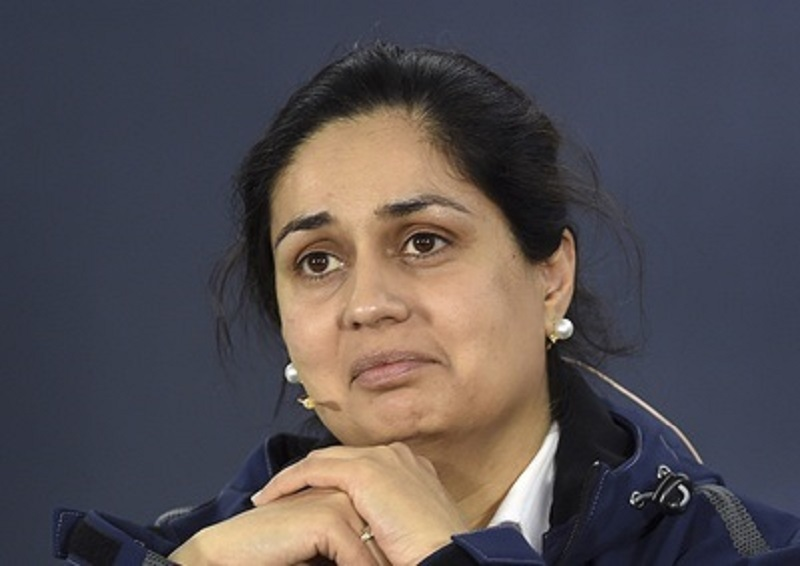 Sauber team principal Monisha Kaltenborn listens to questions during a press conference ahead of the Australian Formula One Grand Prix at Albert Park in Melbourne, Australia, Friday, March 13, 2015. Kaltenborn stood behind her team's decision-making Friday in an ongoing dispute with former driver Giedo van der Garde and said at the season-opening race that she had not considered resigning from her position over the legal battle. The controversy reached almost farcical levels on Friday with the team having three drivers - van der Garde, Marcus Ericsson and Felipe Nasr - in their race suits in the garage but unable to take part in the opening practice run as the dispute was being argued in the Supreme Court of the state of Victoria, just a short distance from the Albert Park circuit. (AP Photo/Ross Land)